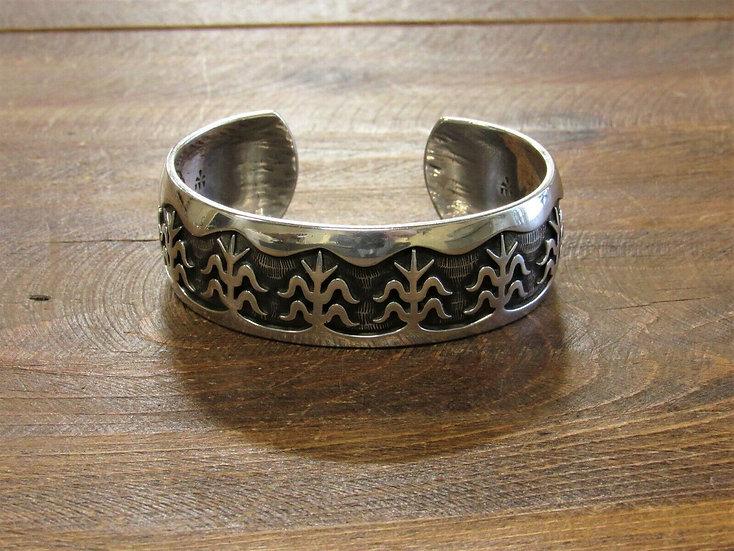 Vintage Hopi Corn Sterling Silver Cuff Bracelet by Bernard Dawahoya