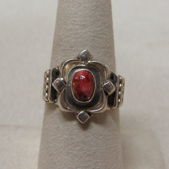 Sterling Silver and Spiny Oyster Southwest Ring Size 8