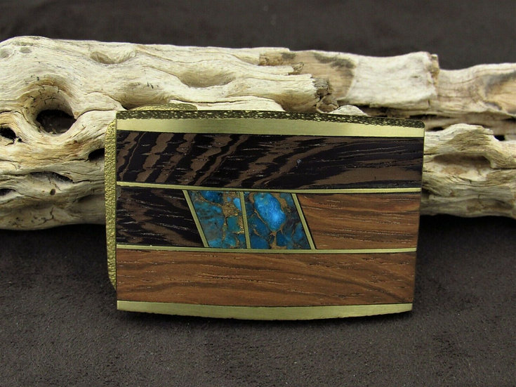 Southwestern Inlaid Faux Turquoise and Wooden Brass Buckle