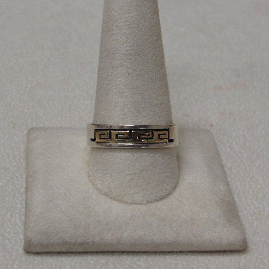 Navajo Sterling Silver and 14 K Gold Band Ring by S Skeets