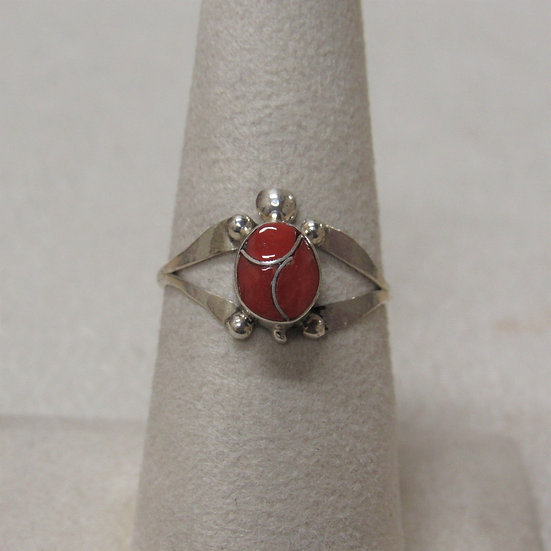 Southwest Sterling Silver Coral Inlay Turtle Ring Size 7 1/2