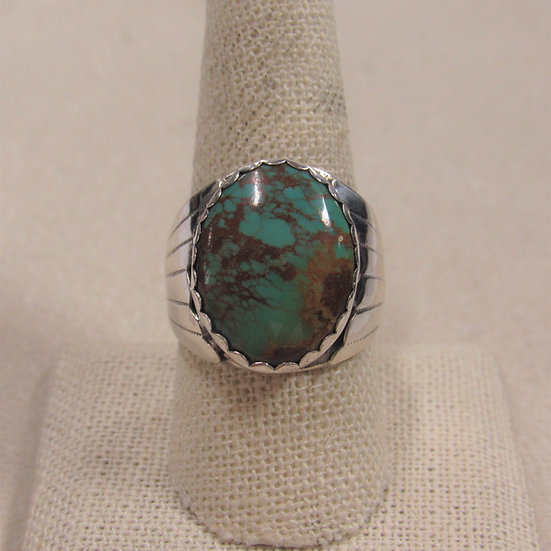 Handsome Southwest Sterling Silver and Turquoise Men's Ring