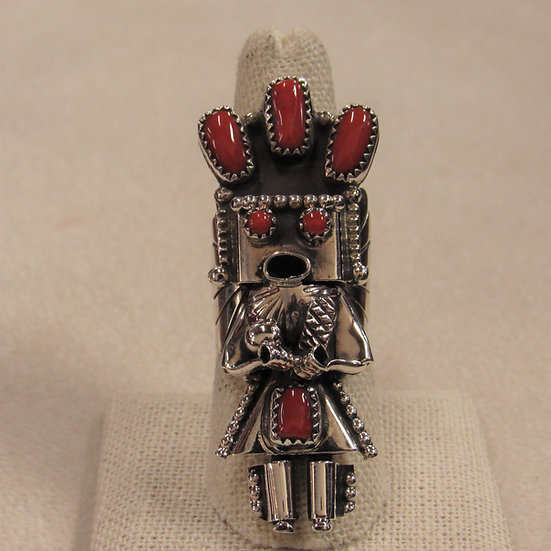 Stunning Sterling Silver and Coral Yei ring by Delores Small Canyon