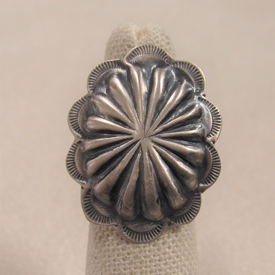 Brushed Sterling Silver Oval Repousse Concho Ring Size 7