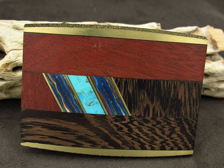 Brass Faux Turquoise and Rainbow Calsilica Wooden Inlaid Belt Buckle