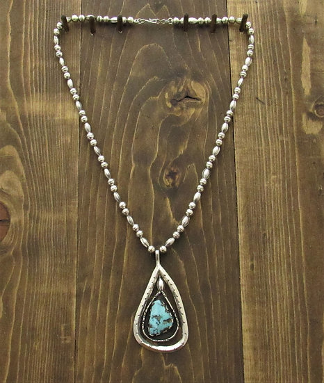 Sterling Silver Beads and Turquoise Asymmetrical Pendant Necklace
