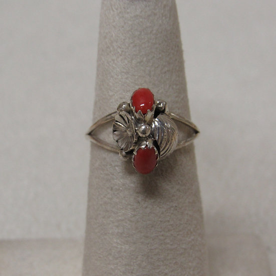 Sterling Silver and Coral Ladies Ring Size 5 3/4