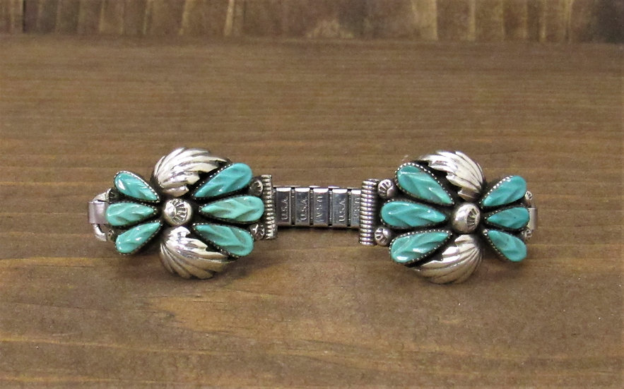 Zuni Carved Petit Point Turquoise Watchband