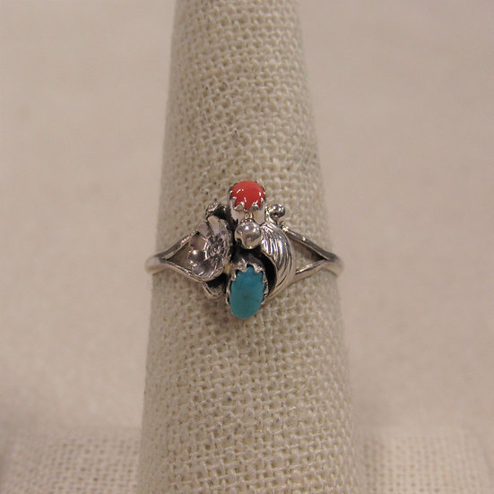 Dainty Southwest Sterling Silver, Coral and Turquoise Ring