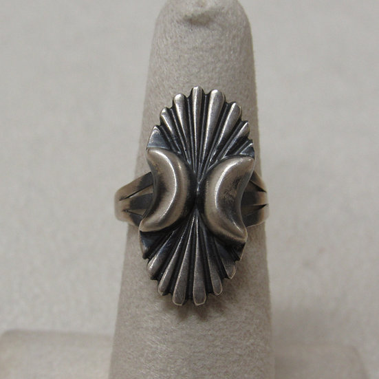 Southwest Oxidized and Brushed Sterling Silver Ring Size 6 1/2