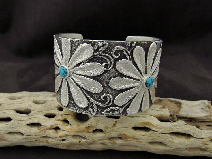 Turquoise Sterling Silver Daisy Flower Tufa Cast Bracelet by Rebecca T. Begay