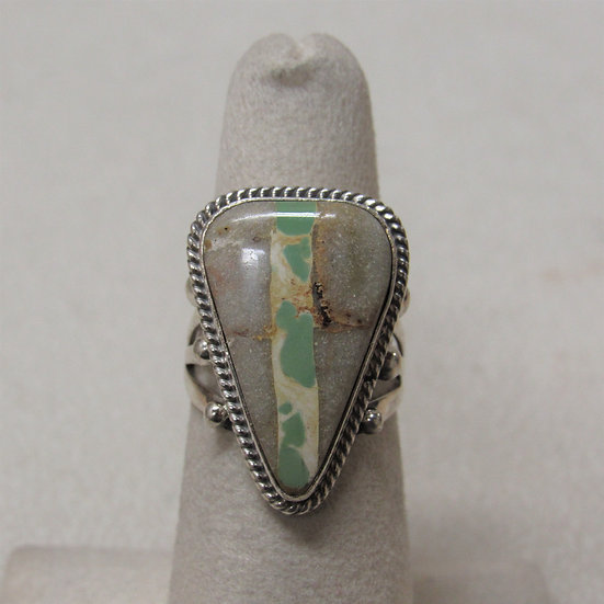 Sterling Silver and Boulder Turquoise Ring by Mark Barney