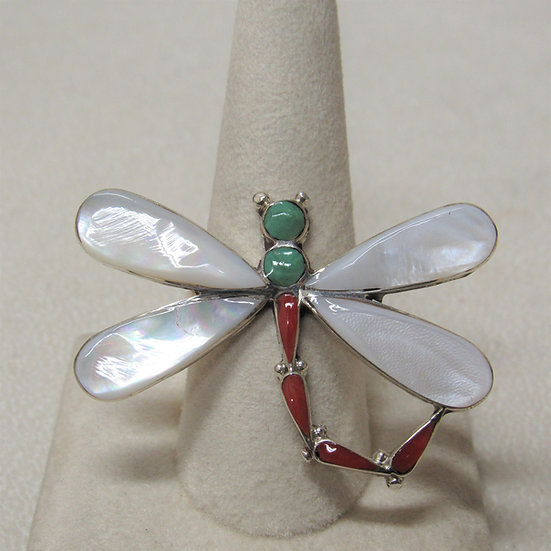 Sterling Silver Inlay Dragonfly Statement Ring Size 10