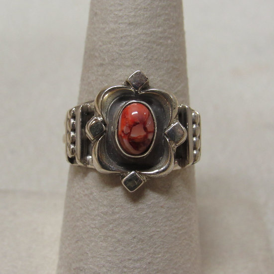 Sterling Silver and Spiny Oyster Shell Ring Size 8