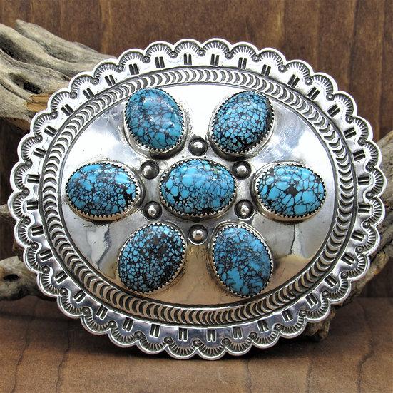 Vintage Sterling and Spider Web Turquoise Belt Buckle by Jennie Blackgoat