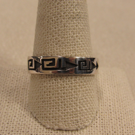 Sterling Silver Southwest Band Ring With Geometric Design Size 11.5