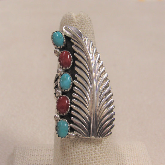 Lenora Begay Sterling Silver, Coral and Turquoise Statement Ring Size 7
