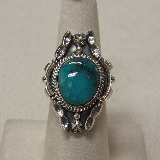 Beautiful Turquoise and Sterling Silver Southwest Ring Size 7