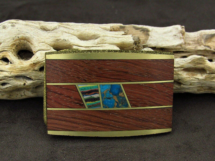 Brass Faux Turquoise and Wooden Belt Buckle