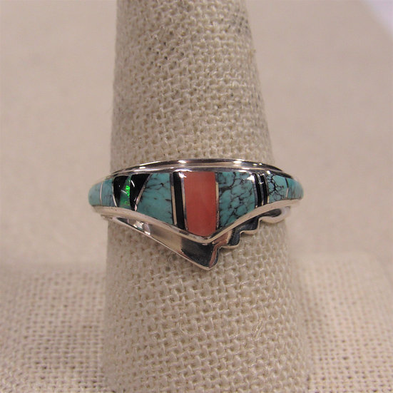 Sterling Silver Southwest Turquoise Inlaid Chevron Ring Size 9.75