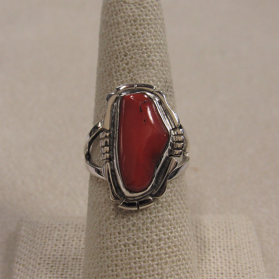 Sterling Silver and Coral Southwest Ring by Nila Cook Johnson