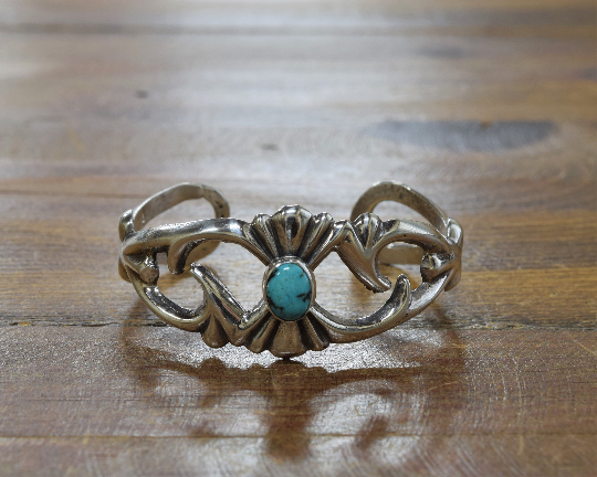 Vintage Sterling Silver and Turquoise Sandcast Cuff Bracelet