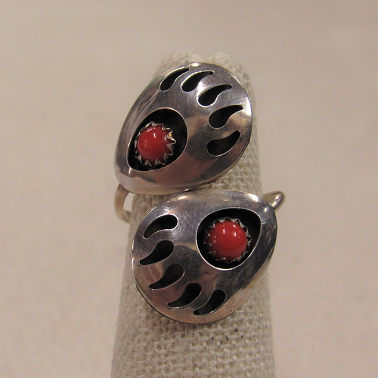Sterling Silver and Coral Adjustable Shadow Box Bear Paw Ring