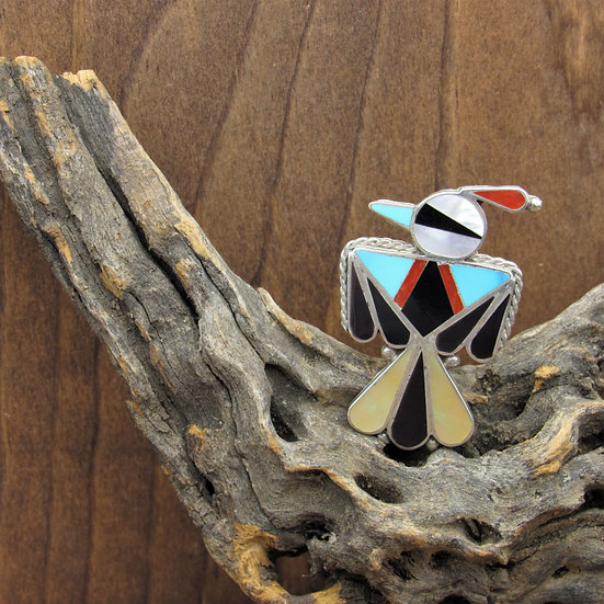 Vintage Southwest Sterling Silver Inlaid Thunderbird Pin Pendant