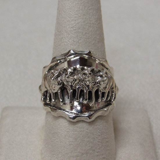 Southwest Sterling Silver Wolf Pack Ring Size 9 1/2