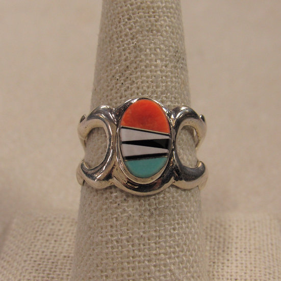 Southwest Sand Cast Ring with Inlay Front Size 9