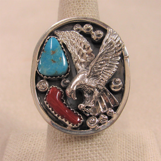 Large Oval Sterling Silver Turquoise, Coral and Eagle Southwest Ring