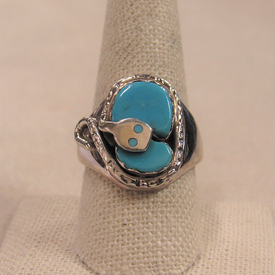 Southwest Sterling Silver and Turquoise Snake Design Ring