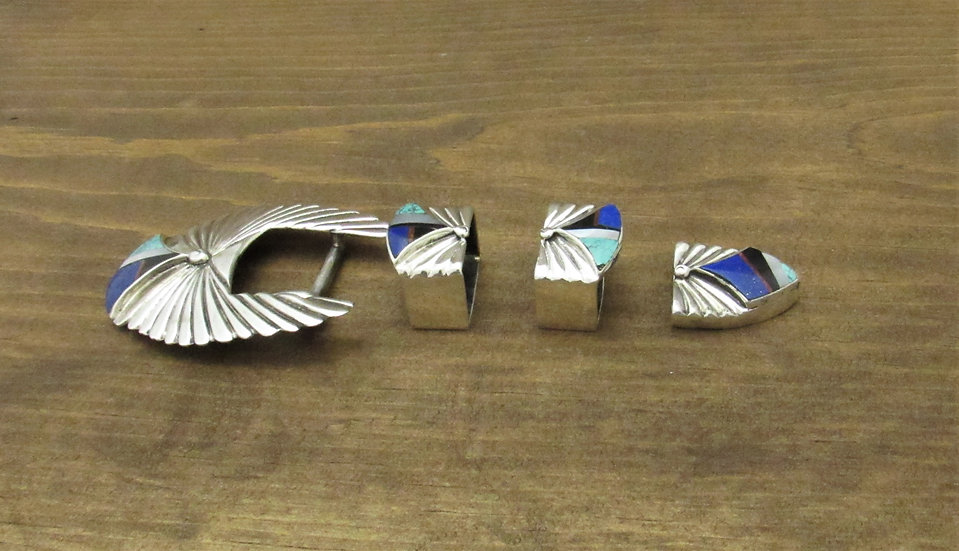 Southwest Sterling Silver and Inlay Ranger Belt Buckle Set
