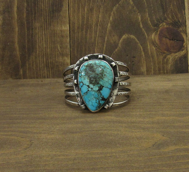 Southwest Sterling Silver and Turquoise Wide Cuff Bracelet