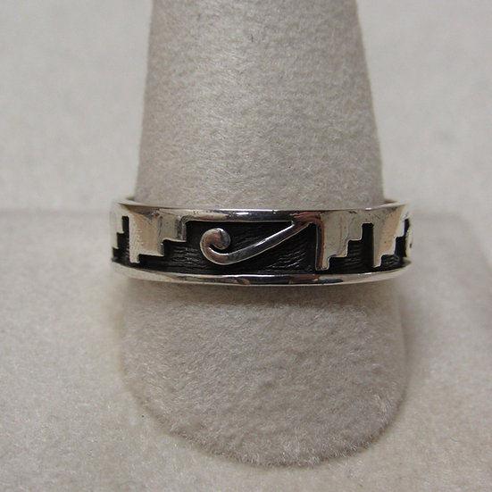Southwest Sterling Silver Band Ring with Geometric Design Size 12 1/4