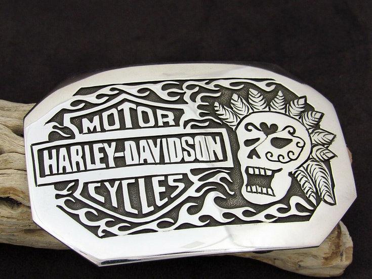 Navajo Sterling Silver Harley Davidson Belt Buckle by Sonny Gene