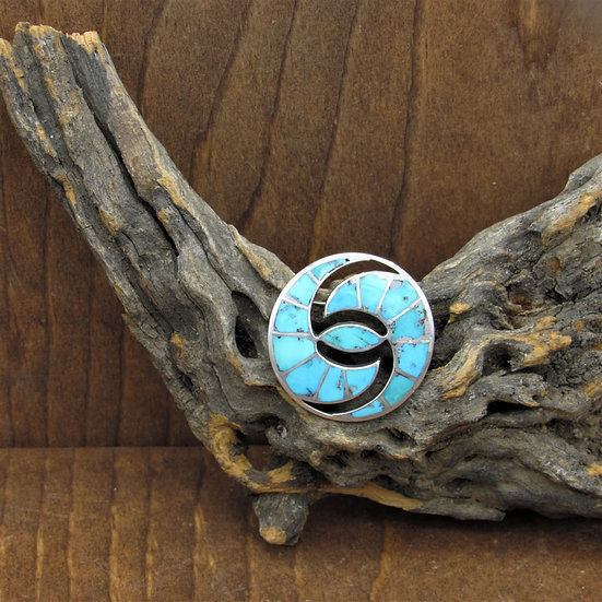 Vintage Sterling Silver Turquoise Inlaid Pin