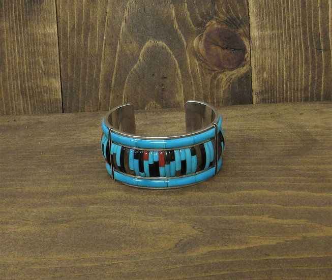 Sterling Silver Cuff Bracelet with Inlay Turquoise, Coral, Jet and Tigers Eye