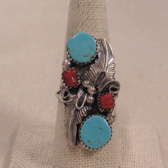 Southwest Sterling Silver, Coral and Turquoise Ladies Ring Size 9