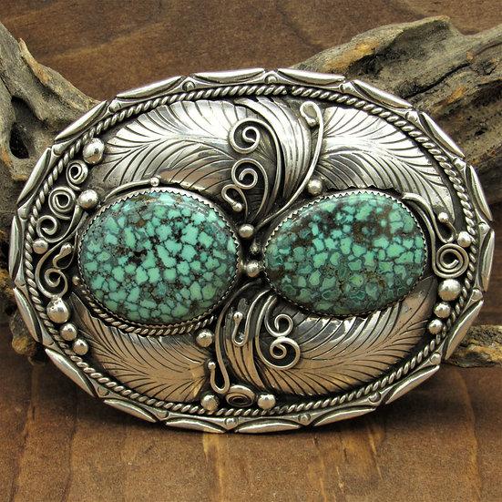 Vintage Southwest Sterling Silver and Spider Web  Turquoise Belt Buckle