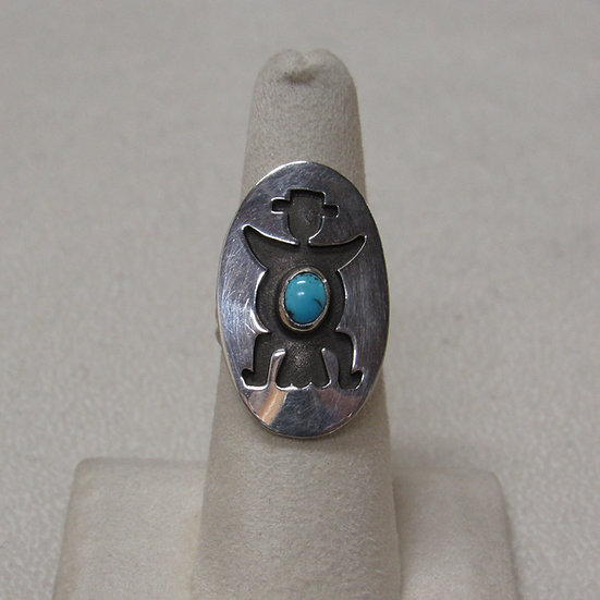 Sterling Silver and Turquoise Southwest Knife Wing Ring Size 7