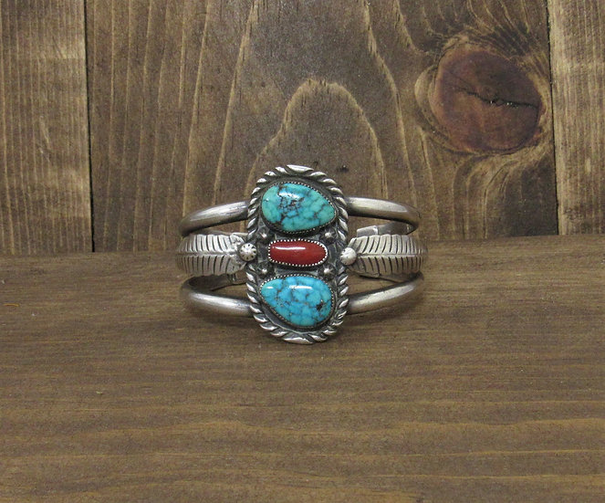 Southwest Sterling Silver, Turquoise and Coral Cuff Bracelet