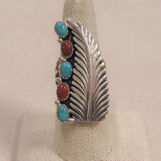 Southwest Sterling Silver Statement Ring by Lenora Begay Size 8.25