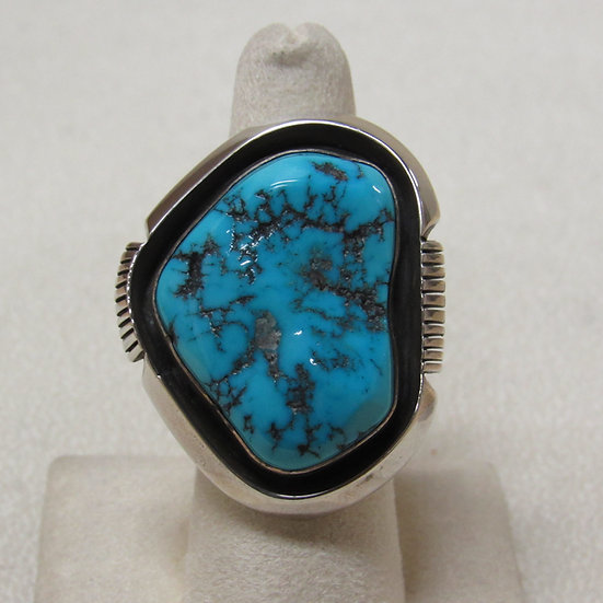 Large Sterling Silver and Turquoise Nugget Statement Ring Size 7 1/2