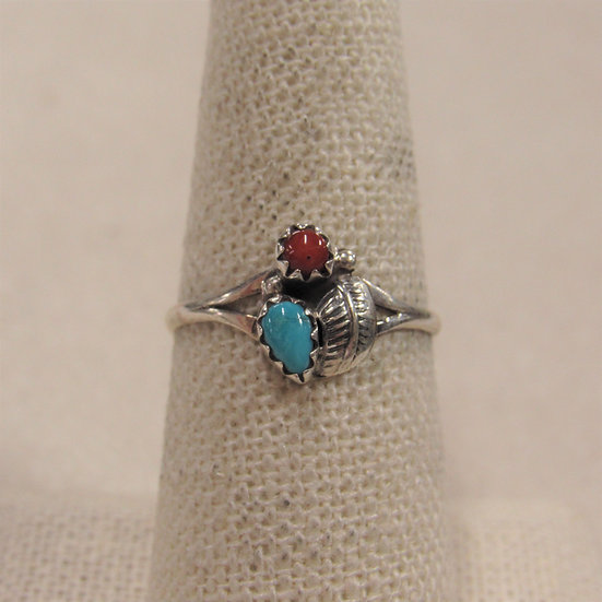 Southwest Sterling  Silver, Coral and Turquoise  Dainty Ring