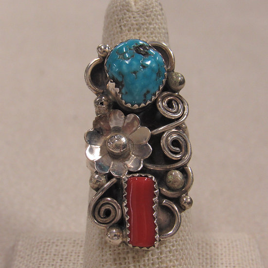 Southwest Sterling Silver, Turquoise and Coral Ladies Ring