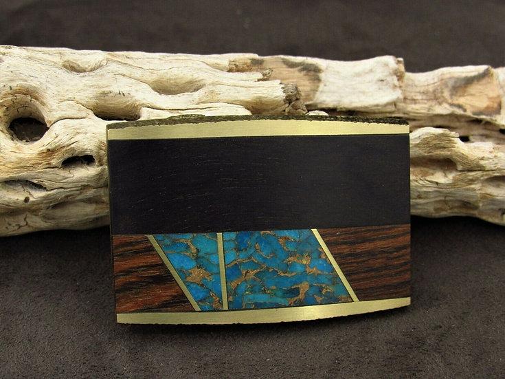 Brass Faux Turquoise Wooden Belt Buckle