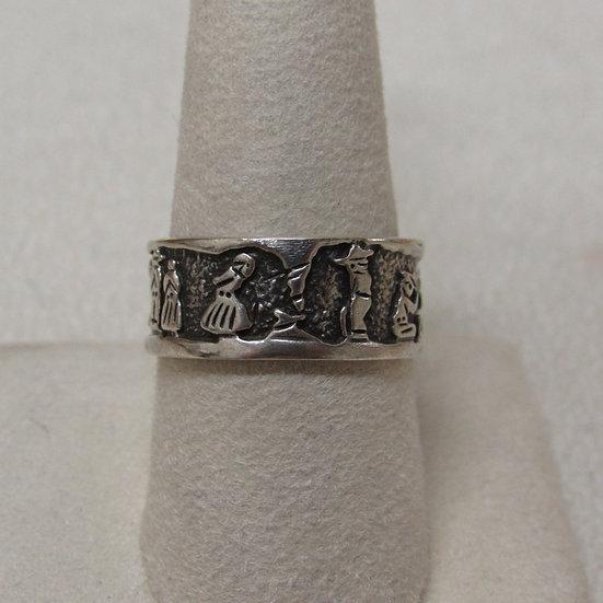 Southwest Sterling Silver Storyteller Band Ring Size 9 1/2