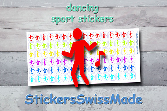 DANCER - sport stickers - rainbow colored icons
