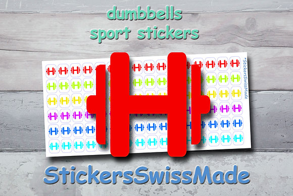 DUMBBELLS- sport stickers - rainbow colored icons